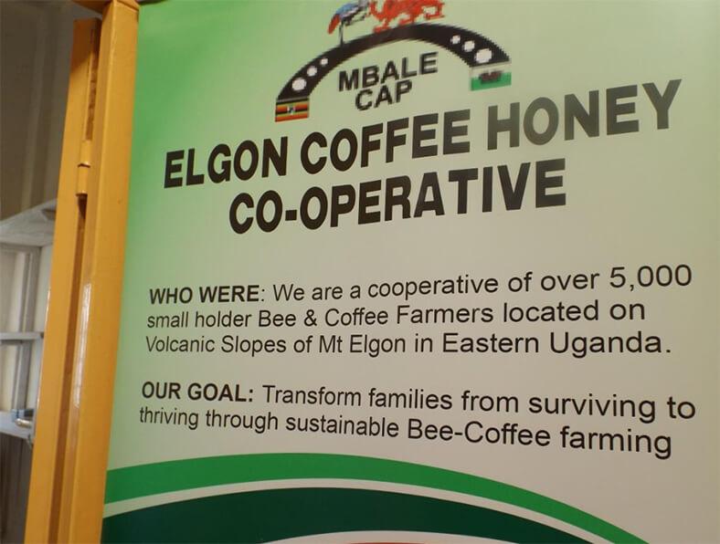 Elgon Coffee Honey Co-operative sign