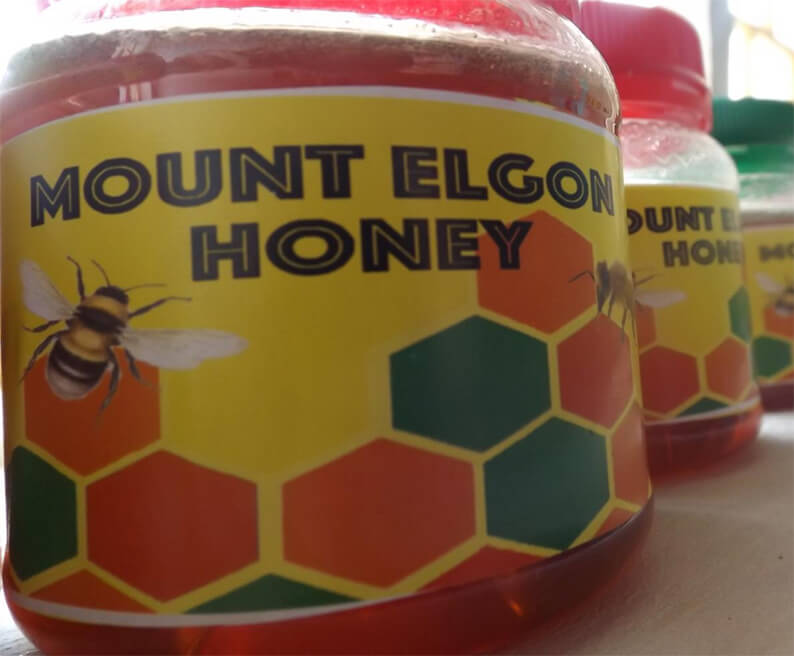 The branded Mount Elgon honey jars