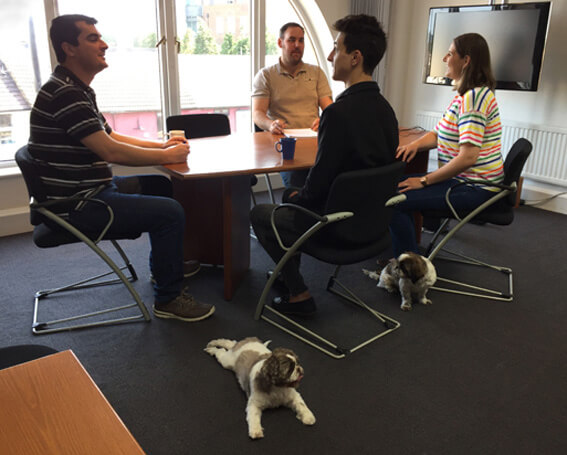 Our canine friends are clearly enthralled by the meeting's subject matter