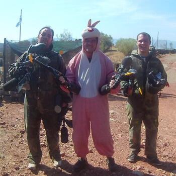 Garry's a walking target in his bunny onesie...
