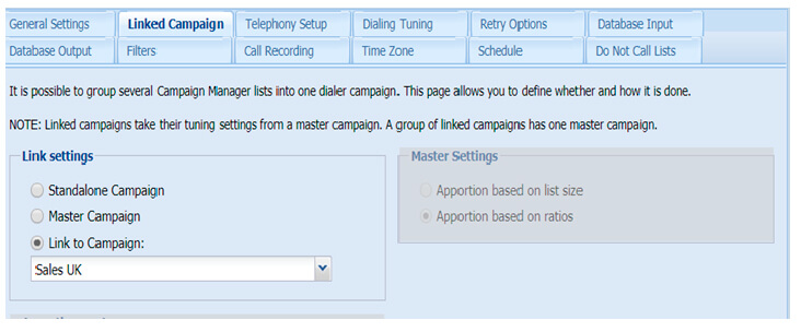 Linking campaigns in Softdial Campaign Manager™