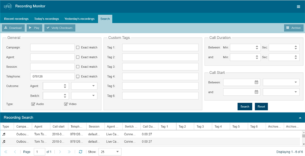 Softdial Recording Monitor™ - interactive recording