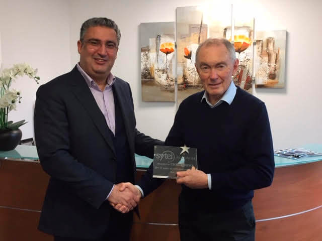 Michael McKinlay, CEO Sytel presents Fethi Madani, CEO CloudControl France with the Sytel Outbound Platinum Award