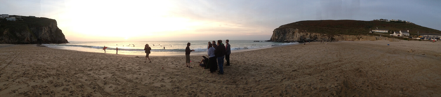 Debriefing at sunset