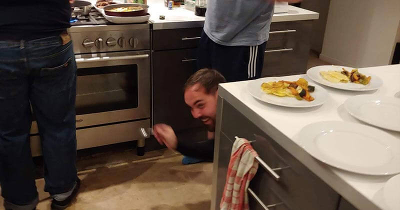 High jinks in the kitchen